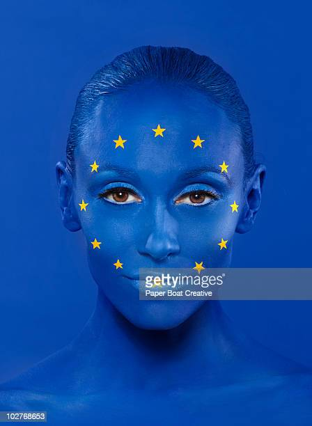 eu flag painted on woman's face - body paint stock pictures, royalty-free photos & images