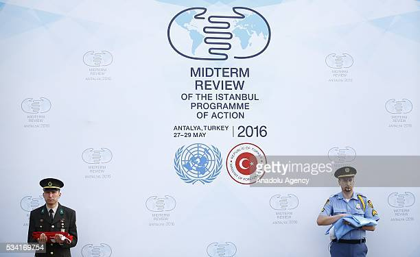 A flag raising ceremony for the flags of the United Nations and Turkey at the Titanic Hotel where Midterm Review of the Istanbul Programme of Action...