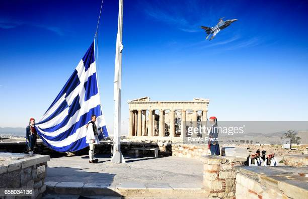 Flag raising on Acropolis by the Greek Presidential Guard