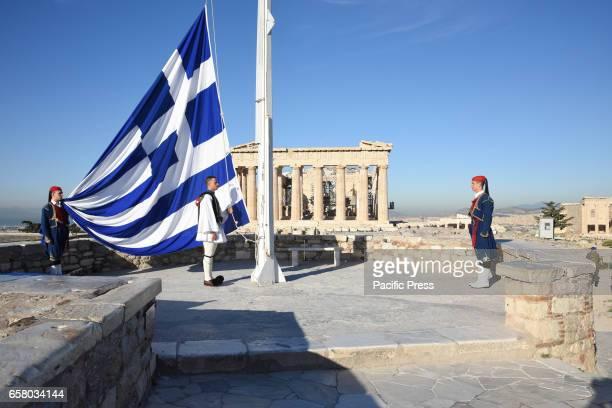 Flag raising on Acropolis by the Greek Presidential Guard