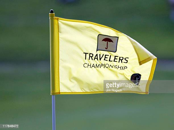 A flag rests on the 17th green during round three of the Travelers Championship at TPC River Highlands on June 25 2011 in Cromwell Connecticutt