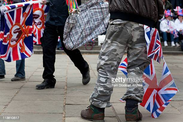 Flag sellers in Pall Mall at the wedding of Prince William and Kate Middleton, London, 29th April 2011.