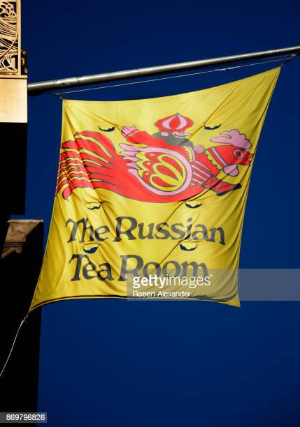 Flag sign hangs over the entrance to the Russian Tea Room, a landmark Russo-Continental restaurant in Midtown Manhattan, New York, New York.