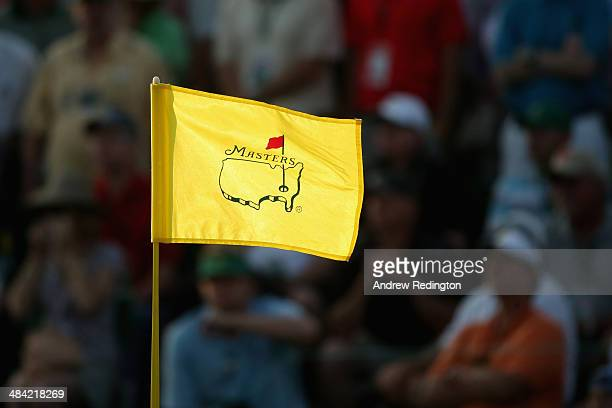 A flag stick is seen during the second round of the 2014 Masters Tournament at Augusta National Golf Club on April 11 2014 in Augusta Georgia