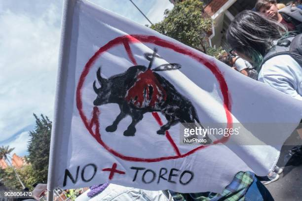 A flag that symbolizes the rejection of people before the new season of the bullfight in the Plaza de Bolívar Bogotá Colombia on 21 January 2018
