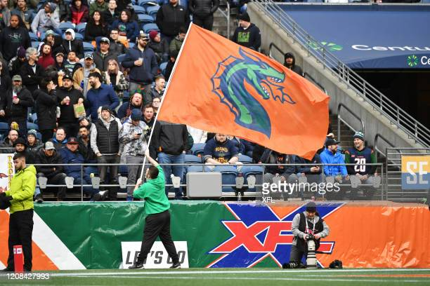 Flag waver performs during the XFL game between the Dallas Renegades and the Seattle Dragons at CenturyLink Field on February 22, 2020 in Seattle,...