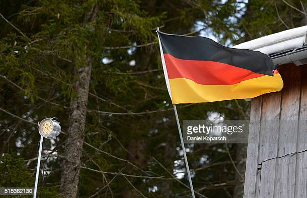 A flag waves in the wind prior to the FIS Ski Jumping Worldcup on March 13 2016 in TitiseeNeustadt Germany