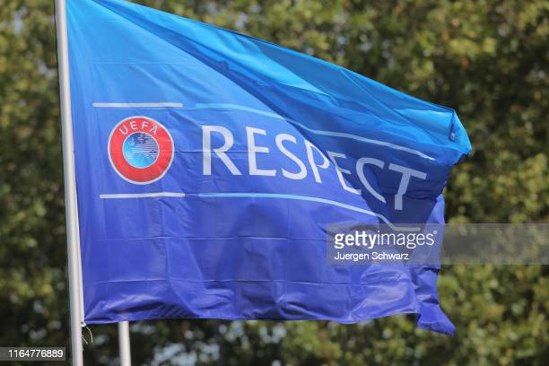 "Flag waves in the wind reading "" Respect "" during a friendly soccer match between the women's under 19 teams of Belgium and Germany on August 30,..."