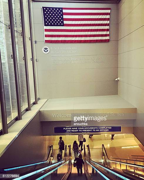 US Flag welcoming travelers at LAX airport