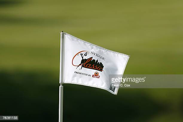 A flag whips in the wind during the first round of the 2007 Sybase Classic Presented by ShopRite Thursday May 17 at Upper Montclair Country Club in...