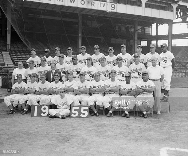 Flag Winning Dodgers Pose for Team Photo Brooklyn New York With the National League pennant safely tucked away in mothballs the Brooklyn Dodgers took...