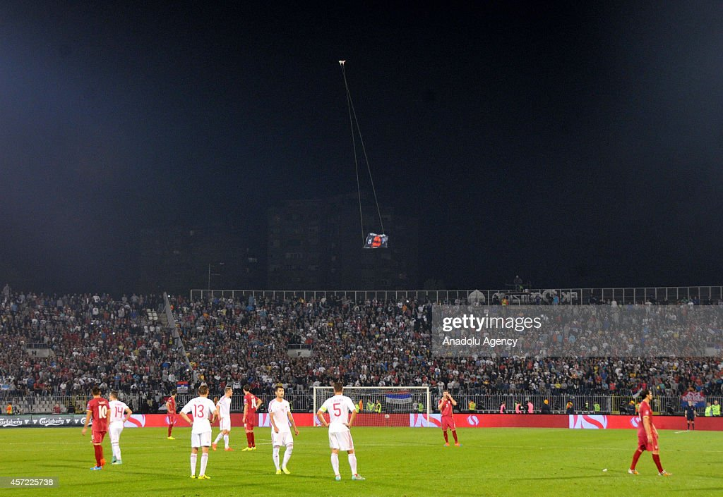 Serbia-Albania match abandoned after drone sparks violent brawl : News Photo