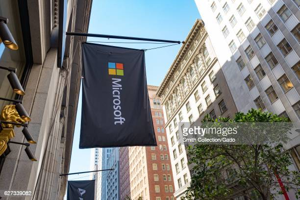 Flag with logo at the San Francisco headquarters of software company Microsoft in the Financial District neighborhood of San Francisco California...
