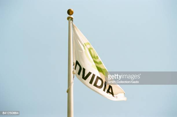 Flag with logo at the Silicon Valley headquarters for computer graphics hardware manufacturer Nvidia Santa Clara California August 17 2017