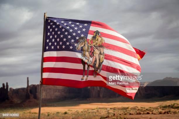 USA Flag with Navajo emblem, Navajo Nation, Monument Valley, Arizona, USA