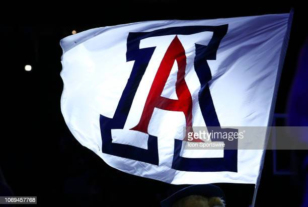 Flag with the Arizona Wildcats logo during the a college basketball game between Utah Valley Wolverines and Arizona Wildcats on December 06 at McKale...