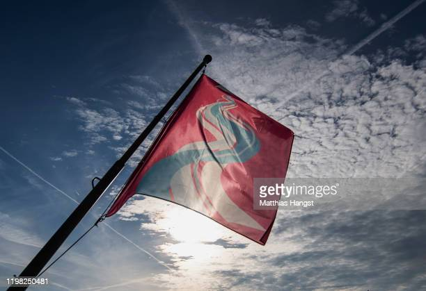 A flag with the logo of the the Lausanne 2020 Winter Youth Olympics seen in the city of Lausanne ahead of the Lausanne 2020 Winter Youth Olympics on...