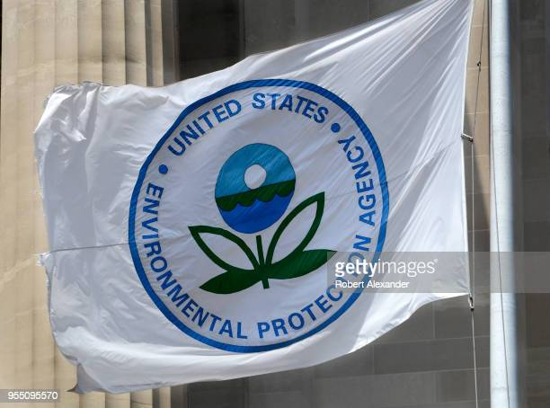 A flag with the United States Environmental Protection Agency logo flies at the agency's headquarters in Washington DC