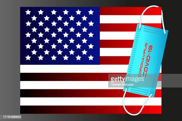usa flag with vector illustration of disposable mask and covid-19 inscription - banner vector stock pictures, royalty-free photos & images