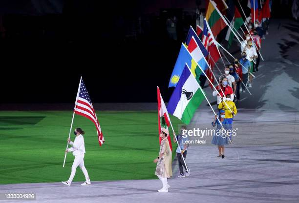 Flagbearer Kara Winger of Team United States during the Closing Ceremony of the Tokyo 2020 Olympic Games at Olympic Stadium on August 08, 2021 in...