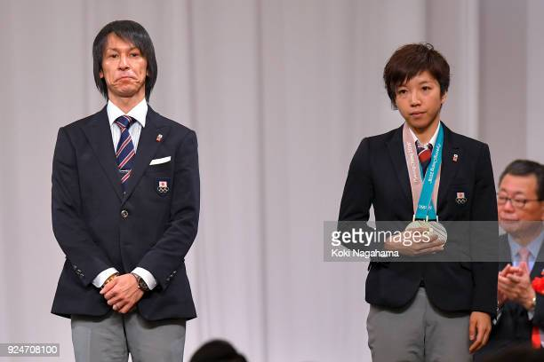 Flagbearer Noriaki Kasai and Captain of the Japanese delegations Nao Kodaira attend the PyeongChang Winter Olympic Games Japan Team Disbandment...