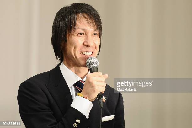 Flagbearer Noriaki Kasai speaks during the PyeongChang Winter Olympic Games Japan Team press conference on February 26 2018 in Tokyo Japan