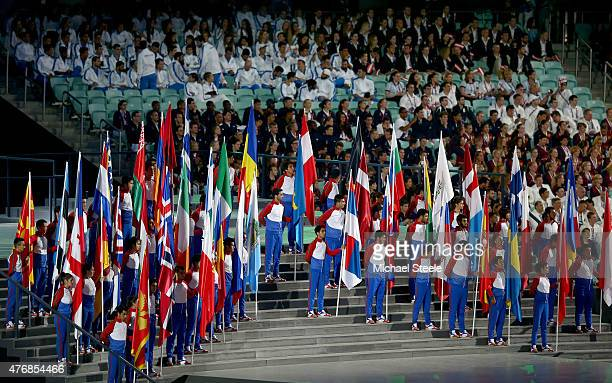 Flagbearers of the competing nations line up during the Opening Ceremony for the Baku 2015 European Games at the Olympic Stadium on June 12 2015 in...