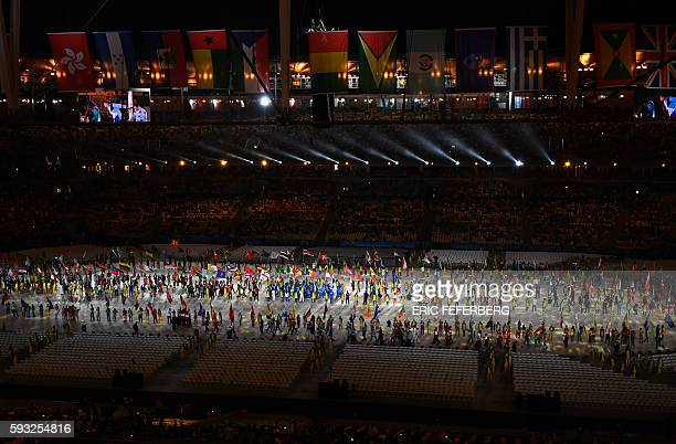 Flagbearers parade during the closing ceremony of the Rio 2016 Olympic Games at the Maracana stadium in Rio de Janeiro on August 21 2016 / AFP / Eric...