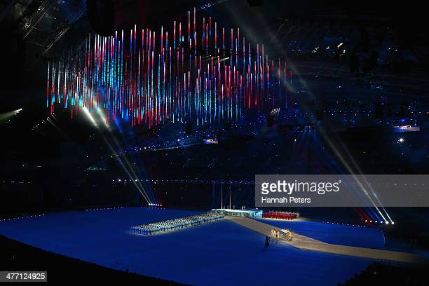 Flagbears carry the Russian flag during the Opening Ceremony of the Sochi 2014 Paralympic Winter Games at Fisht Olympic Stadium on March 7 2014 in...
