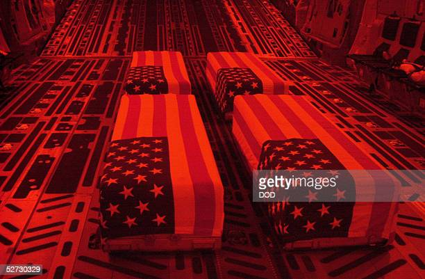 S flagdraped coffins bearing the remains of US servicemen sit onboard a transport plane in this photo released April 28 2005 by the Pentagon The...