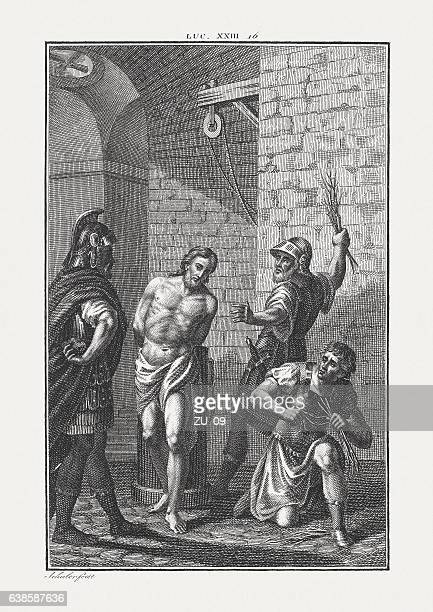 flagellation of christ (luke 23), copper engraving, published c. 1850 - spanking stock photos and pictures