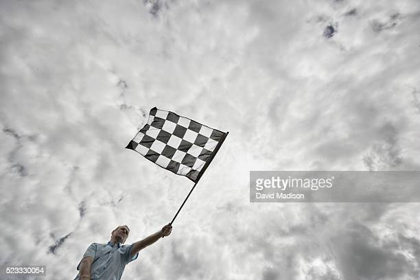 Flagger Waving Checkered Flag
