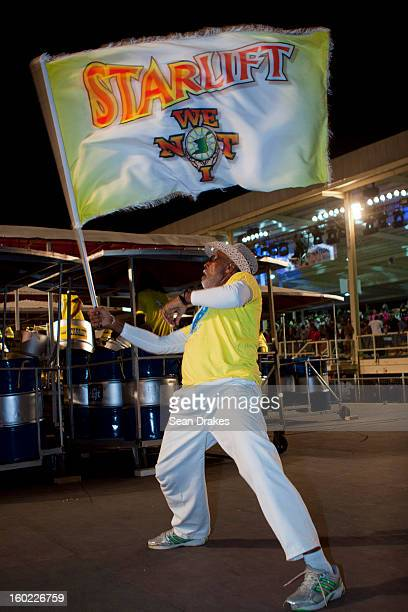 Flagman for Starlift steelband performs at Panorama semifinals at Queen's Park Savannah in Port of Spain Trinidad and Tobago on January 27 2013...