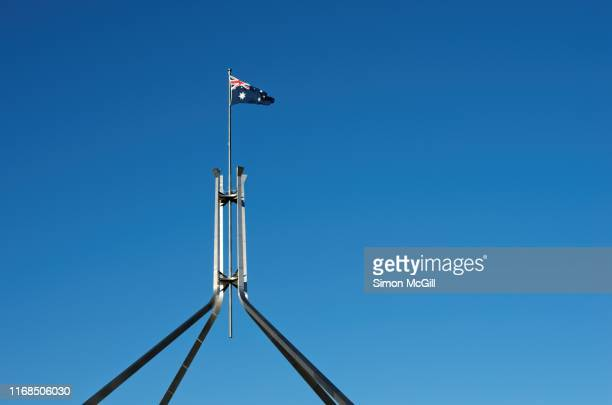 flagmast of parliament house, canberra, australian capital territory, australia - australian capital territory stock pictures, royalty-free photos & images