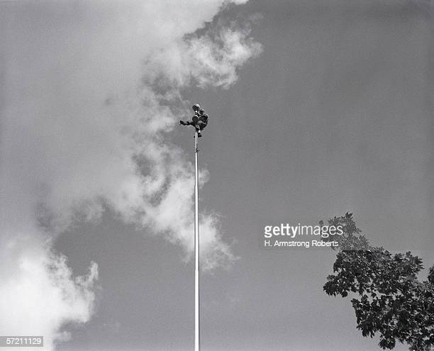 Flagpole sitter with paint bucket