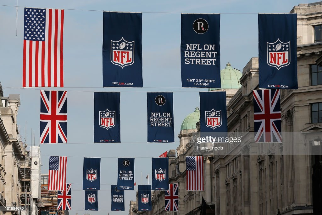Flags advertising the NFL in London are seen on Regent Street prior to a Pittsburgh Steelers press conference at the Four Seasons Hotel on September 27, 2013 in London, England.