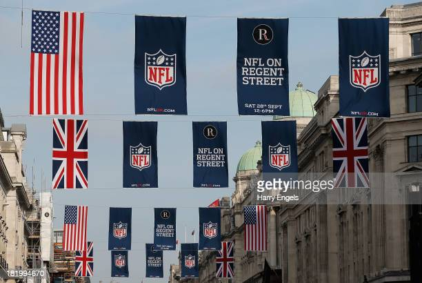 Flags advertising the NFL in London are seen on Regent Street prior to a Pittsburgh Steelers press conference at the Four Seasons Hotel on September...