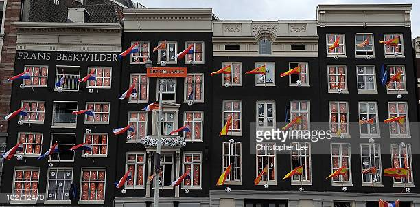 Flags and banners are hung up in windows and on flag poles as Amsterdam prepares for the forthcoming FIFA2010 World Cup Final between Netherlands and...