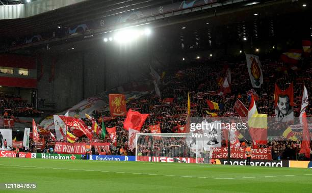 Flags and banners on The Kop before the UEFA Champions League round of 16 second leg match between Liverpool FC and Atletico Madrid at Anfield on...