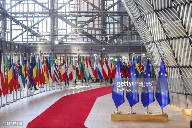 EU flags and flags of the European countries state member next to the red carpet where EU leaders arrive in the EU in the European Council building...