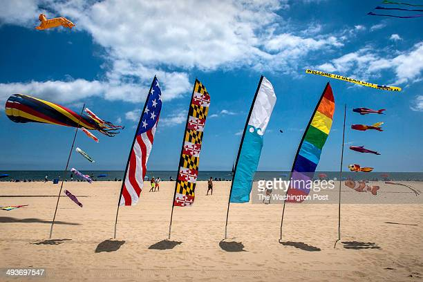 Flags and kites fill the sky on Memorial Day weekend at the beach on May 2014 in Ocean City MD