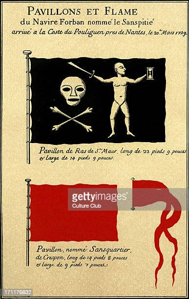 Flags and Pennant of the pirate ship 'Sans Pitié' arriving at Pouliguen northwestern France on March 20 1729 Shows Captain Dulaien 's flag skull and...