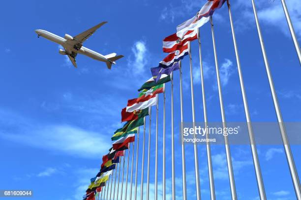 flags and plane