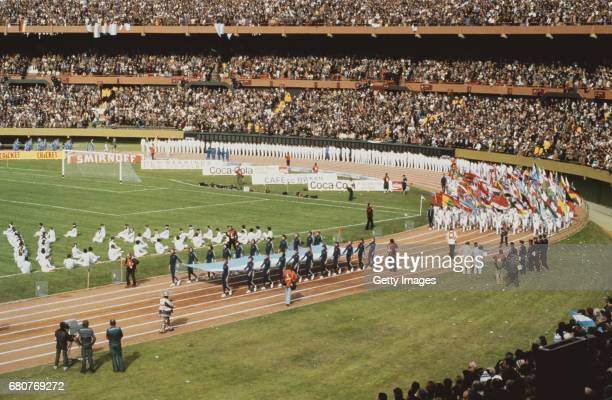 Flags are displayed at the opening ceremony for the FIFA 1978 World Cup at the River Plate stadium on June 1 1978 in Buenos Aires Argentina