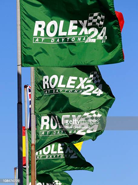 Flags are displayed during practice for the Rolex 24 at Daytona at Daytona International Speedway on January 28, 2011 in Daytona Beach, Florida.