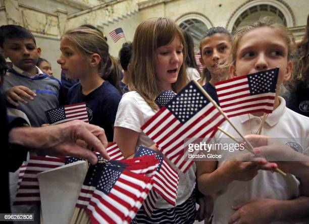 Commonwealth of Massachusetts US State Small Hand Waving Flag