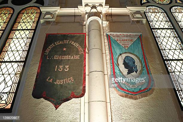 Flags are hung up on a wall of the Grande loge de France headquarters of the third largest Masonic obedience in France taken on September 17 2011 in...