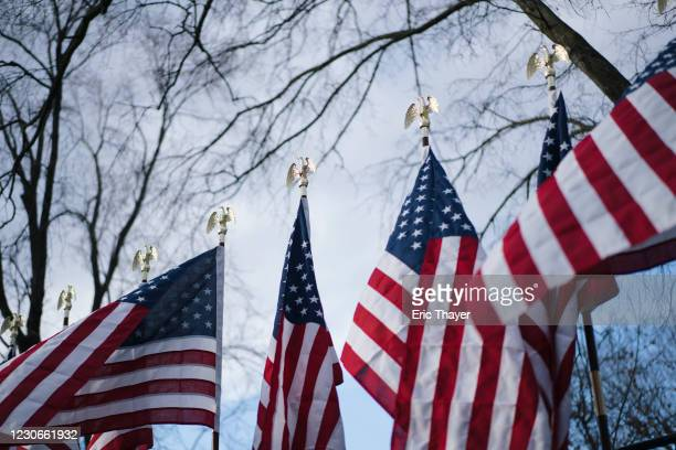 Flags are on display for Inauguration Day near the White House on January 18, 2021 in Washington, DC. After last week's riots at the U.S. Capitol...