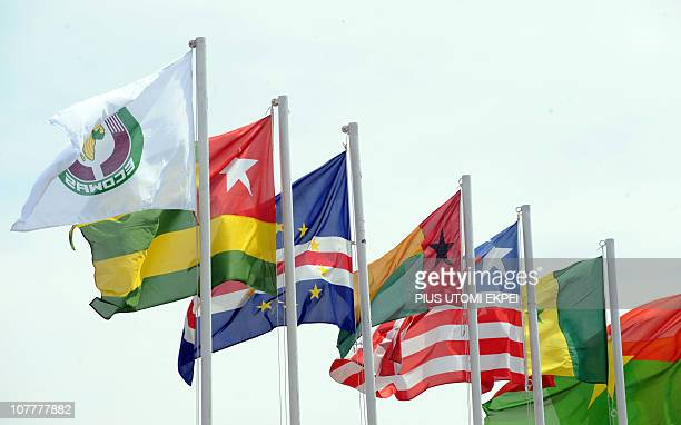 ECOWAS flags are pictured during an emergency summit of the 15member Economic Community of West African States on the political crisis in Ivory Coast...