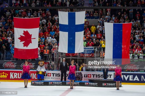 Flags are rising up for winner Team Finland runner up Team Canada and third place Team Russia during the 2019 IIHF Ice Hockey World Championship...